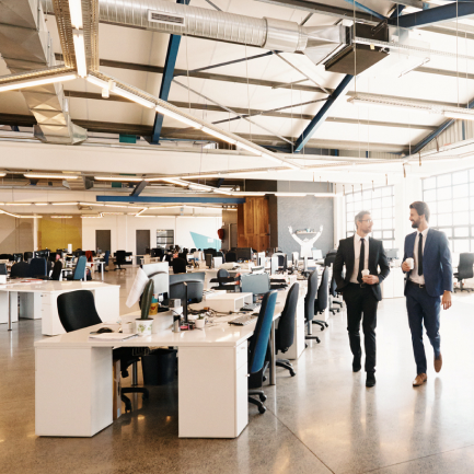 Employees returning to a healthy and clean office space