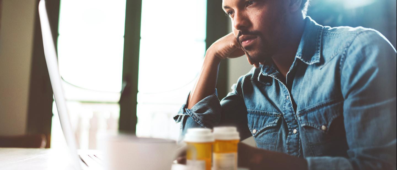 Men ordering prescription online