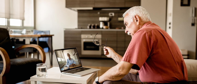 Virtual therapy session via laptop computer