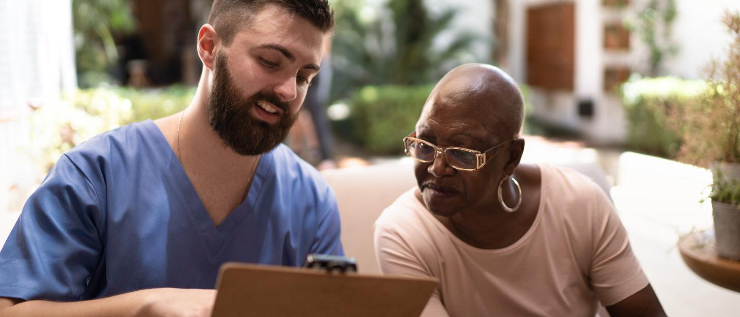 Medical professional and patient discuss options