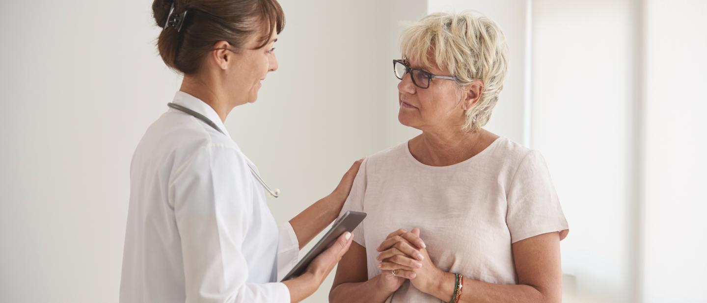 Clinician counseling patient